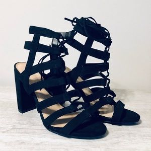 Wild Diva Lounge | Black Suede Lace Up High Heels